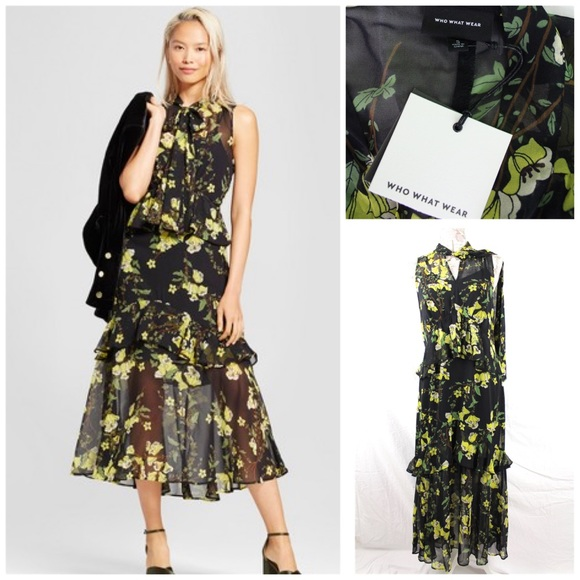 f82cb1577f8d Who What Wear Dresses | Tiered Ruffle Midi Dress Whowhatwear Black ...